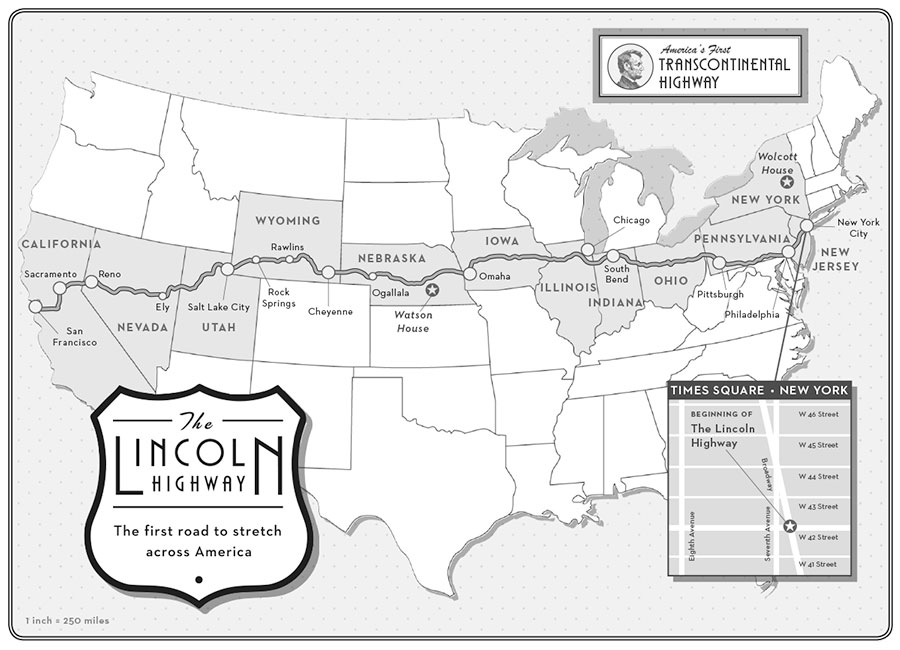 The Lincoln Highway map from the book
